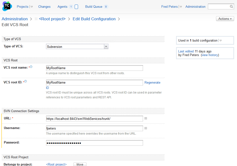 Edit VCS Root