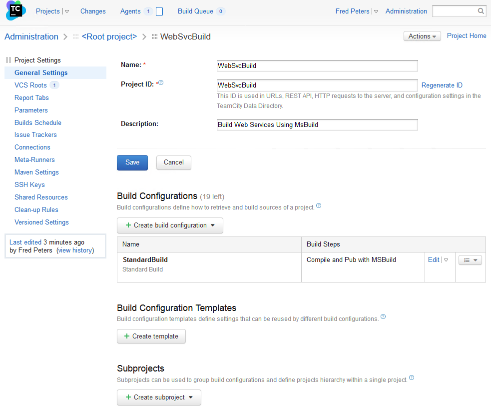 Sub-Project Edit View