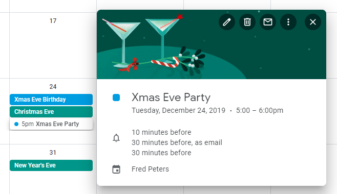 Christmas Eve in Google Calendar